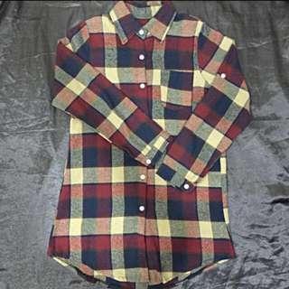 🔸格紋長版襯衫