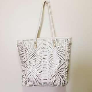 Forever21 White Laser Cut Pattern Tote Handbag