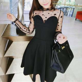 Starry Dots Dotted Raglan Mesh Sexy Bustier Black Skater Dress - Code H628