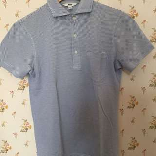 Uniqlo Polo Shirt Garis Biru
