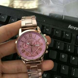 日內瓦玫瑰金合金錶(附贈精致手錶罐)