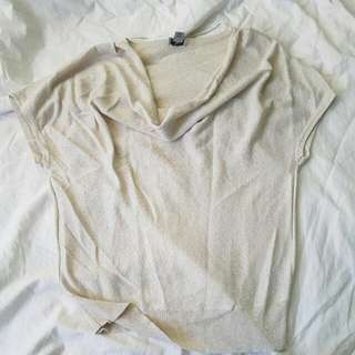 Dirty White Blouse With Gold Gliters
