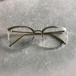 透明框 金色架 眼鏡
