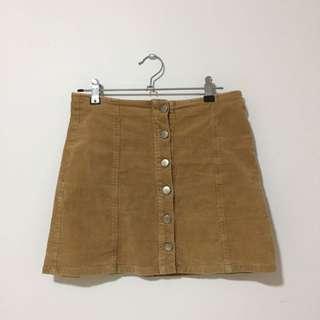 Mini Skirt - Light Brown, Textured, Button Up