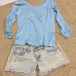 Ripped Short Jeans Pant & Blue Shirt