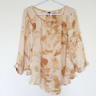 Feather Print Batwing Blouse
