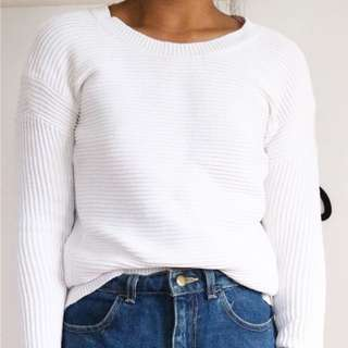 Country Road Ribbed White Jumper