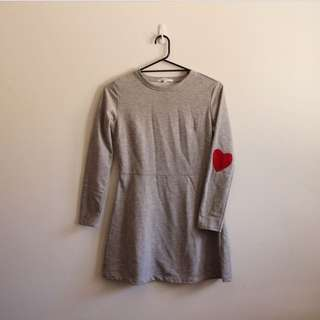Grey Dress W/ Love Heart Elbow Patches