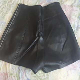 Black Leather Shorts With Full Side Zipper