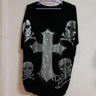 Harajuku Black Cross Skull Top