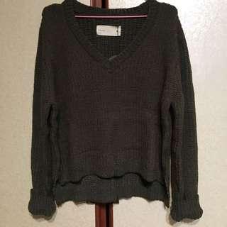 墨綠v領針織毛衣