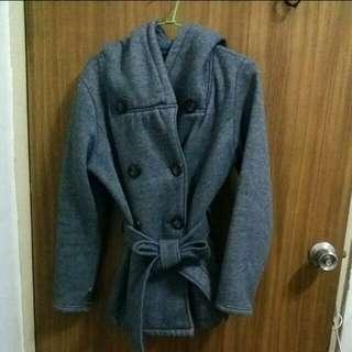(含運)厚棉綁帶排扣大衣