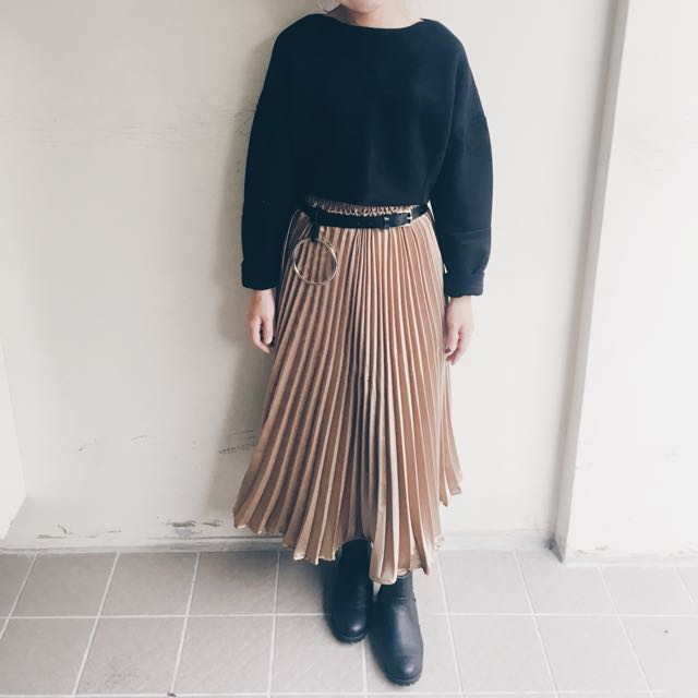 歐美時尚 金屬感百摺長裙