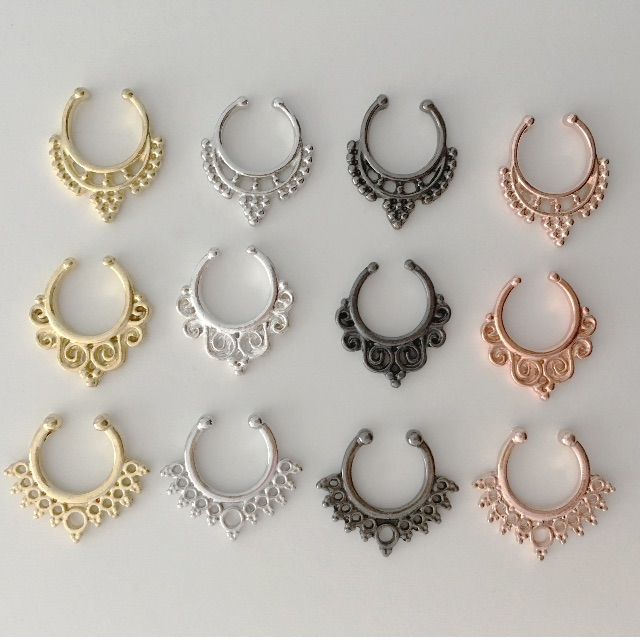 A C Fake Septum Piercing Nose Ring Clip On Gold Silver