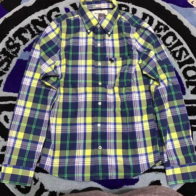 A&F HOLLISTER 漸層 印地安 海鷗 襯衫 短袖 短T T恤 線條 網格 格紋 藍 綠黃 夏天 透氣 文子 經典 棉質 百搭