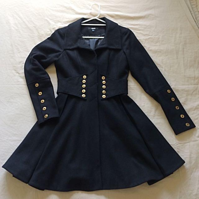 Black & Gold Button Detail Coat