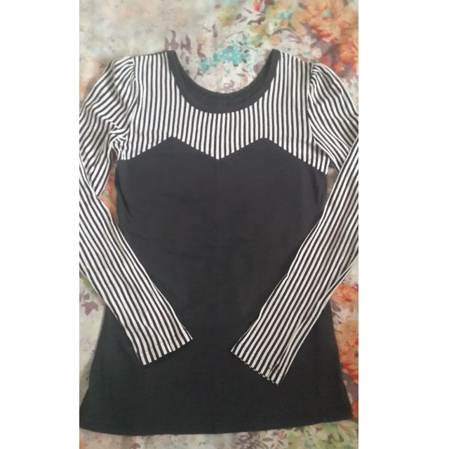 Black & White Striped Long-Sleeved Top