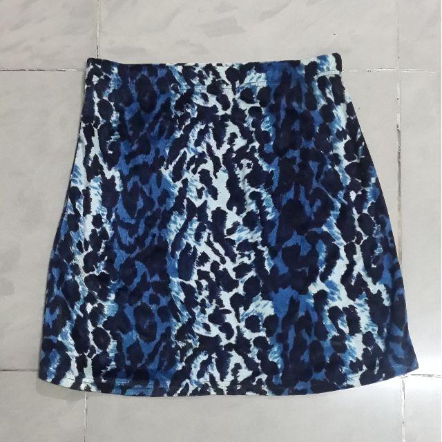 Blue Leopard Mini Skirt