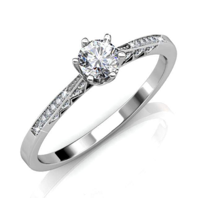 Bridal Engagement Ring Ft Swarovski Elements