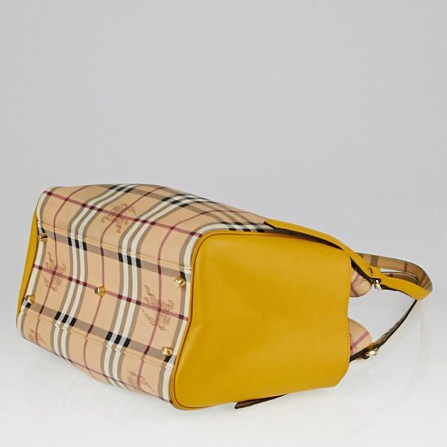 cf6babcb89a7 BURBERRY Yellow Leather Haymarket Check Coated Canvas Small Canterbury Tote  Bag