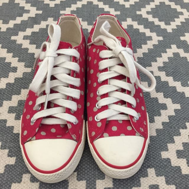 Cath Kidston Sneakers - Red With Beige Polka Dots, Size 37