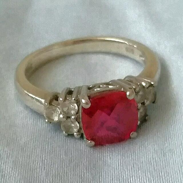 Created Ruby And White Sapphire Ring