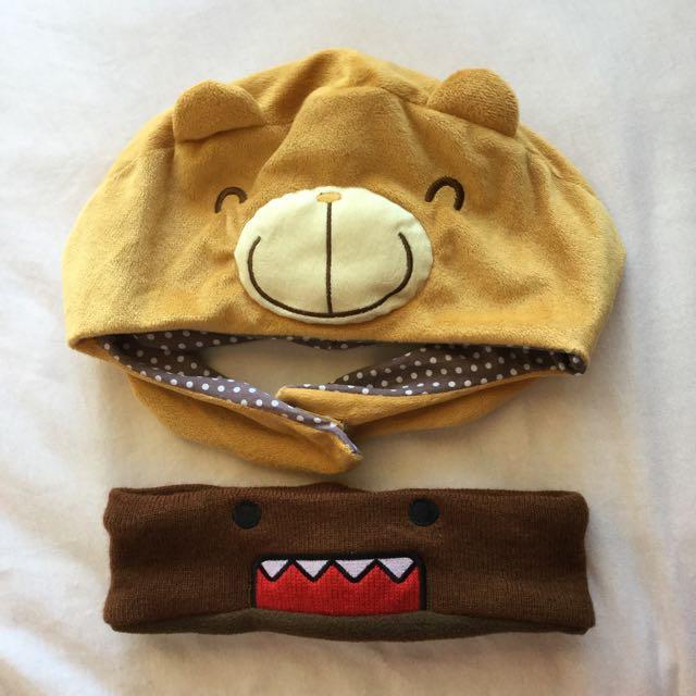 Cute Domo Sweatband And Plush Bear Hat