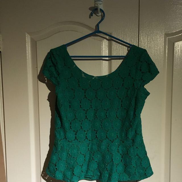 Green Lace Peplum Top