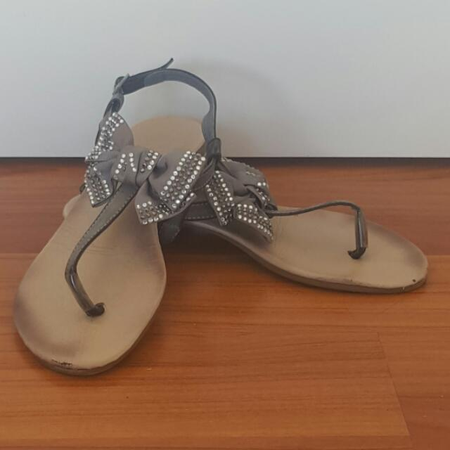 Grey Sandals with strass