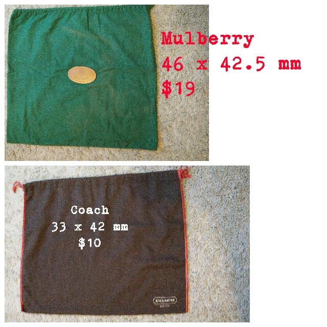 Handbag Dustbag Coach And Mulberry. Price And Size In Cm.  Update Coach Is Sold