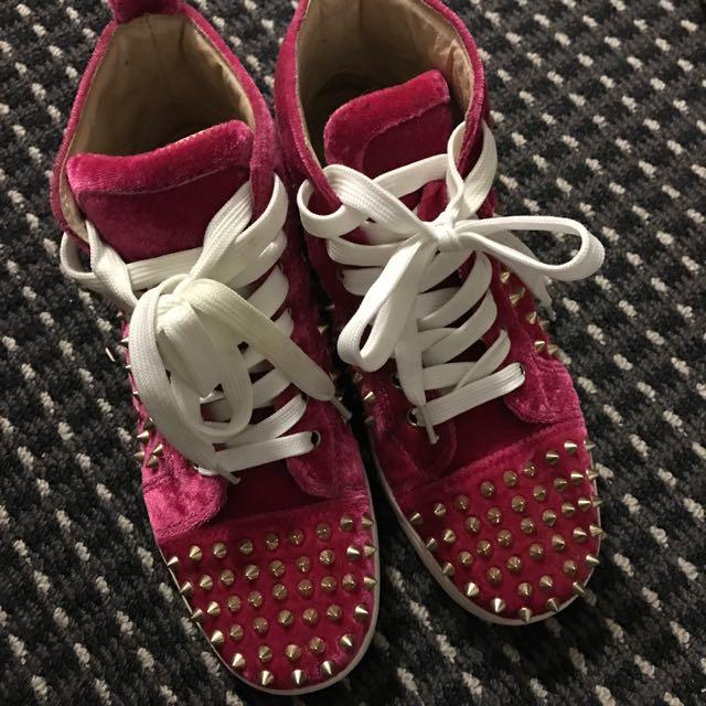 Hot Pink Rivet Velvet Shoes