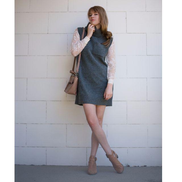 Knitted turtle neck vest dress