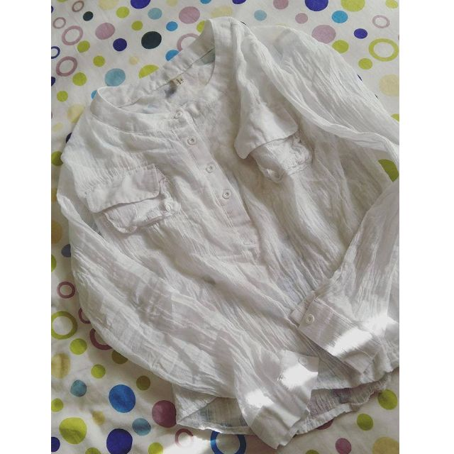 Korean White Linen Cotton Longsleeve Shirt