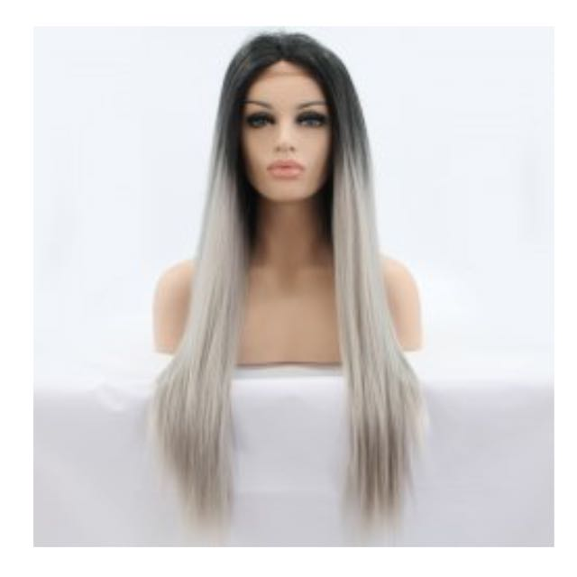 Lace Front Wig Grey Ombre