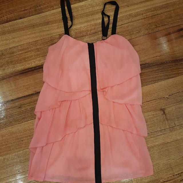 Miss Shop Brand Coral And Black Dress Size 8 Party Dress Ruffle