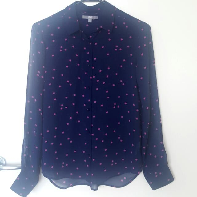 Navy Uniqlo button down shirt with stars pattern