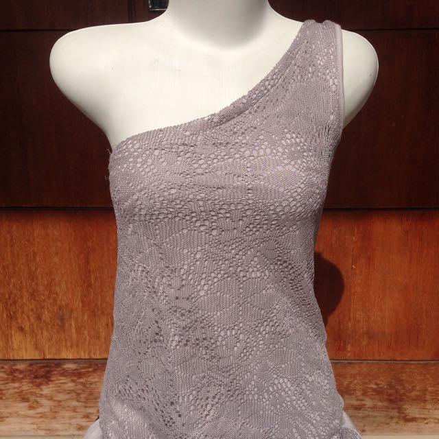 one shoulder grey dress