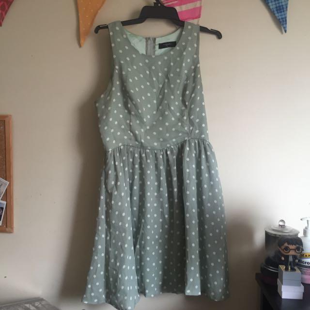 PAGANI Mint Green Polka Dot Skater Dress Size 12