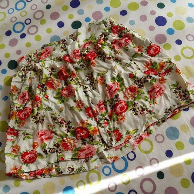 Pink Cream Roses Floral Skirt