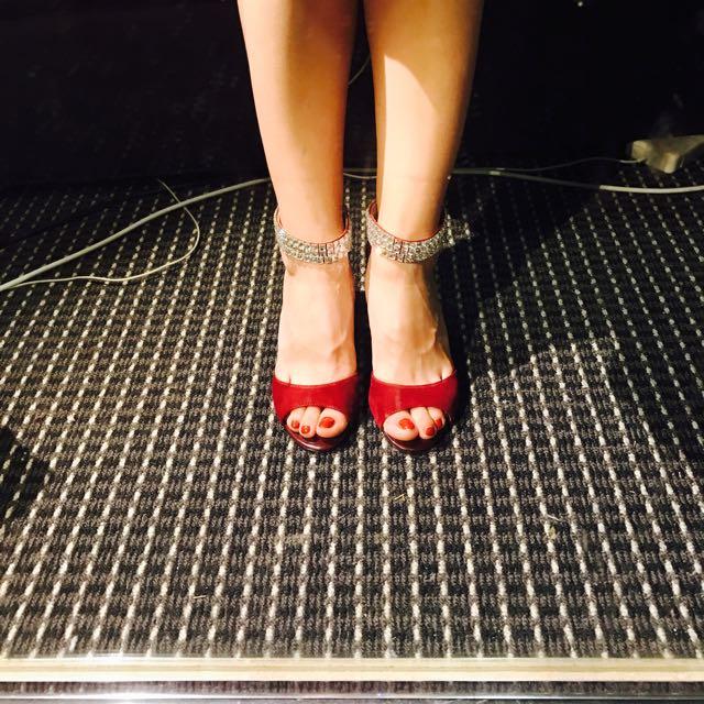 Red Mid Heel Sandal