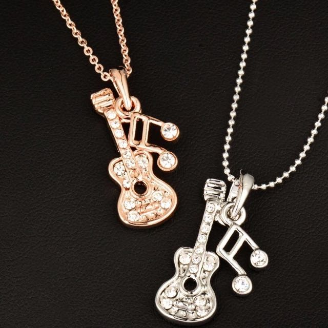 (Rose Gold Chain) Music Note Guitar Pendant Necklace / Kalung Musik Liontin Gitar Not