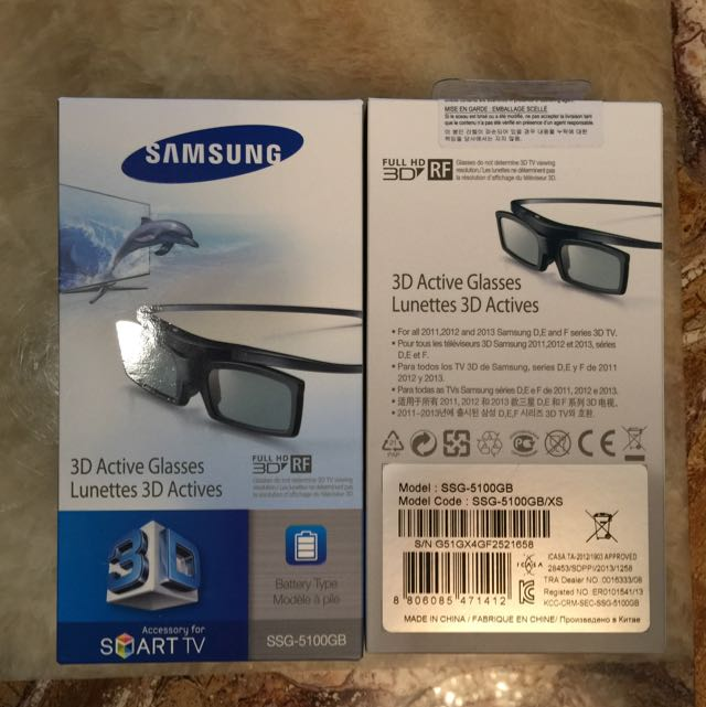 fce1e0f1b163 Samsung 3D Active Glasses, Model: SSG-5100GB, Home Appliances, TVs &  Entertainment Systems on Carousell