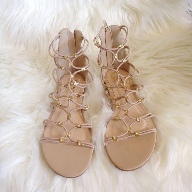 Strappy Beige Sandals Size 38