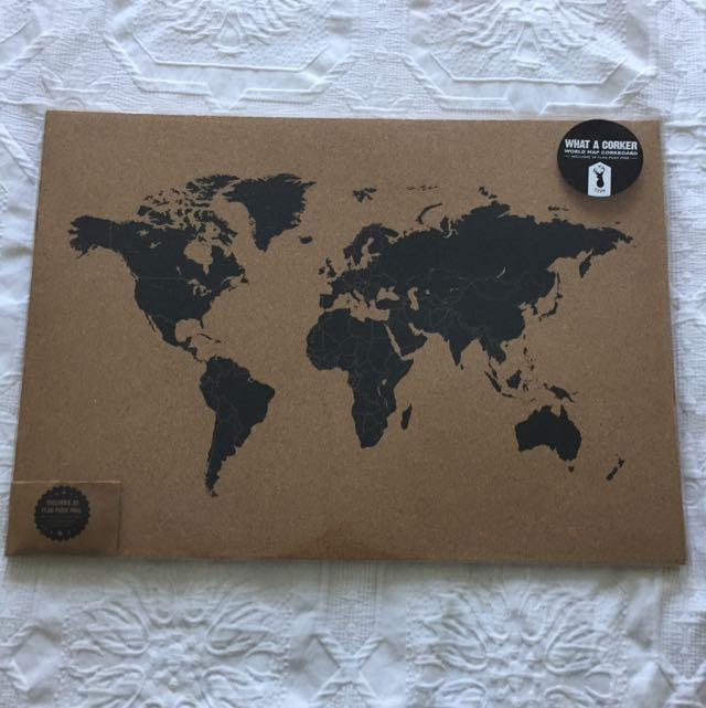 Typo what a corker world map corkboard home furniture home decor photo photo photo gumiabroncs Image collections