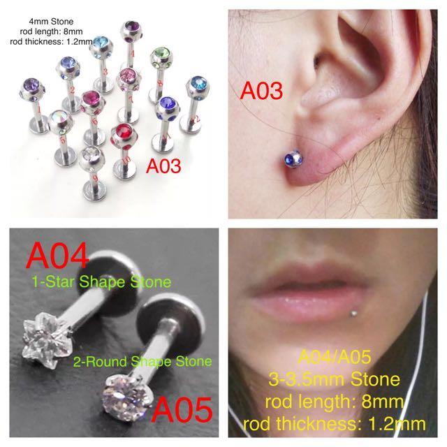Unisex Surgical Steel Silver Labret Earring Barbell Ear Lip Stud