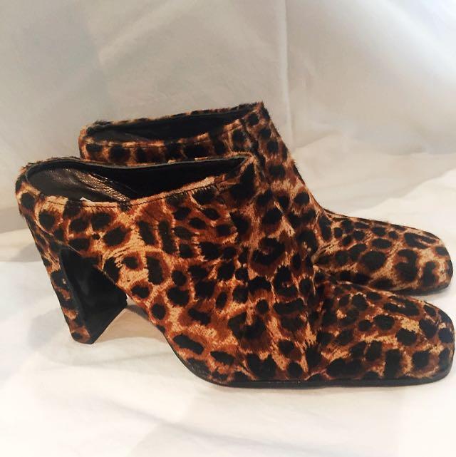 ⚡Vintage 90's Leopard Pony Hair Mules