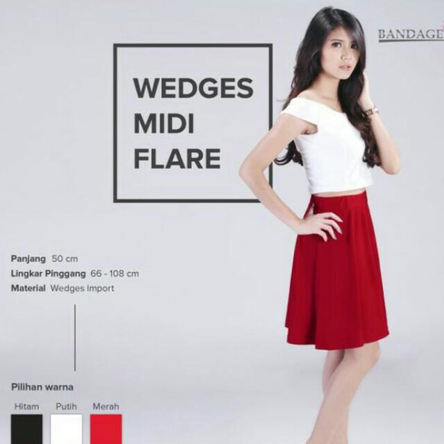 Wedges Midi Flare skirt Merah Rok Wanita Selutut