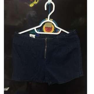 🔵深藍色 拉鍊式牛仔短褲 [全新僅試穿]🌈