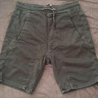 Zara Jogger Military Green Shorts