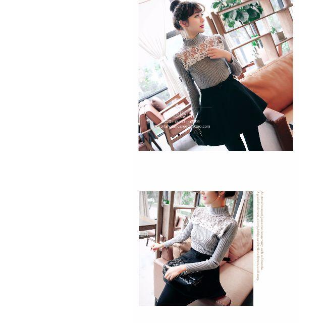 0129-秋季新款女裝韓版半高領毛衣修身顯瘦長袖套頭蕾絲透視針織打底衫